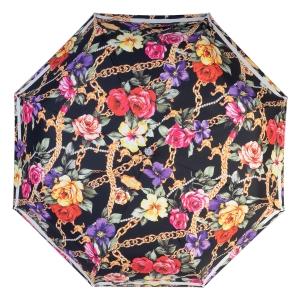 Зонт складной Moschino 7700-OCA Flowers and Chains Black фото-3