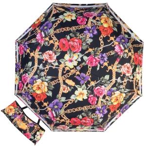 Зонт складной Moschino 7700-OCA Flowers and Chains Black фото-1