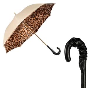 Зонт-трость Pasotti Ivory Leoparde Pelle фото-1