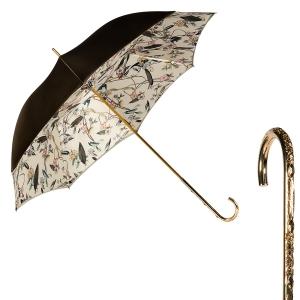 Зонт-трость Pasotti Oliva Foresta Penna Oro фото-1