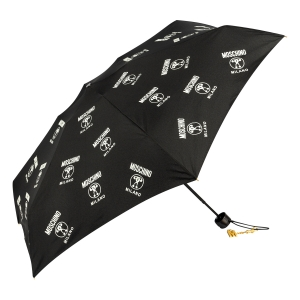 Зонт складной Moschino 8560-SuperminiA Logo Allover Black фото-3