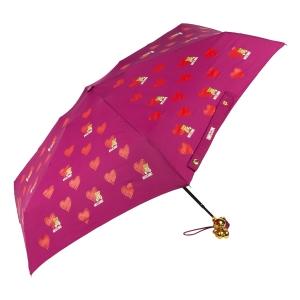 Зонт складной Moschino 8127-superminiX Hearts and bears Bordeaux фото-2