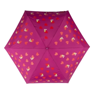 Зонт складной Moschino 8127-superminiX Hearts and bears Bordeaux фото-3