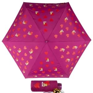 Зонт складной Moschino 8127-superminiX Hearts and bears Bordeaux фото-1