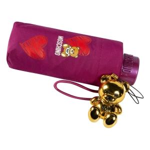 Зонт складной Moschino 8127-superminiX Hearts and bears Bordeaux фото-4