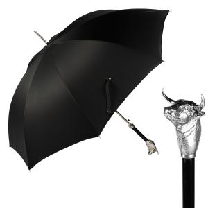 Зонт-трость Pasotti Toro Silver Oxford Black фото-1
