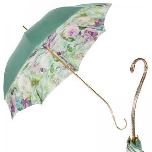 Зонт-трость Pasotti Verde Camelia Oro Dentel фото-1