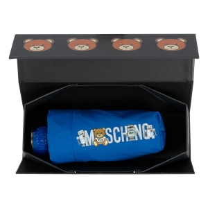 Зонт складной Moschino 8123-SuperminiF Toy Robot Blue фото-6