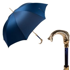 Зонт-трость Pasotti Pesce Gold Oxford Blue фото-1