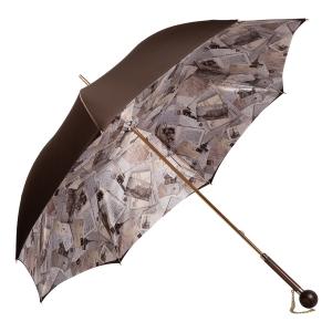 Зонт-трость Pasotti Marrone Lettere Globe Legno фото-3