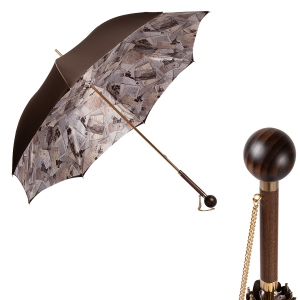 Зонт-трость Pasotti Marrone Lettere Globe Legno фото-1