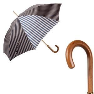 Зонт-трость Pasotti Uno StripesL Blu/Beige Legno фото-1