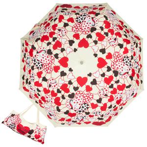 Зонт складной Moschino 7007-OCI Olivia Hearts Beige фото-1