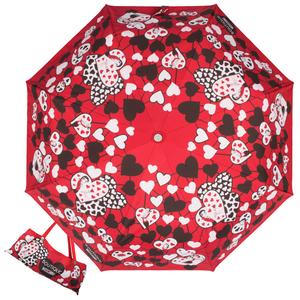 Зонт складной Moschino 7007-OCC Olivia Hearts Red фото-1