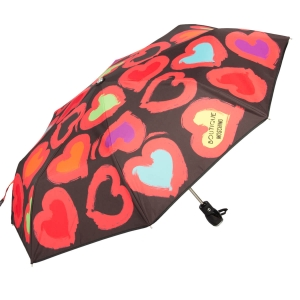 Зонт складной Moschino 7081-OCA Painted hearts Black фото-2