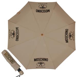 Зонт складной Moschino 8010-OCD Lettering Dark Beige фото-1