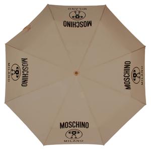 Зонт складной Moschino 8010-OCD Lettering Dark Beige фото-3