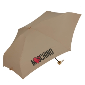 Зонт складной Moschino 8020-SUPERMINID HEART LOGO DARK BEIGE фото-2