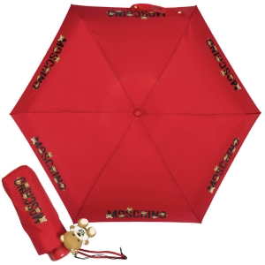 Зонт складной Moschino 8032-SUPERMINIC BEAR LOGO RED фото-1