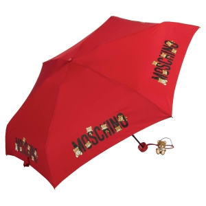 Зонт складной Moschino 8032-SUPERMINIC BEAR LOGO RED фото-2