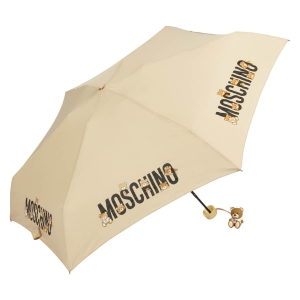 Зонт складной Moschino 8032-SUPERMINID BEAR LOGO DARK BEIGE фото-2