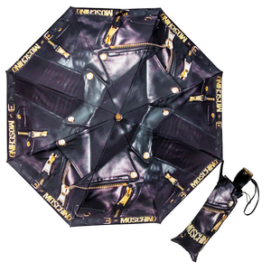 Зонт cкладной Moschino 8200-OCA Biker Jacket Black фото-1