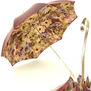 Зонт-трость Pasotti Bordo Fiore Oro фото-1