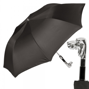 Зонт складной Pasotti Auto Fido Silver Oxford Black фото-1