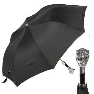 Зонт складной Pasotti Auto Leone Silver Oxford Black фото-1