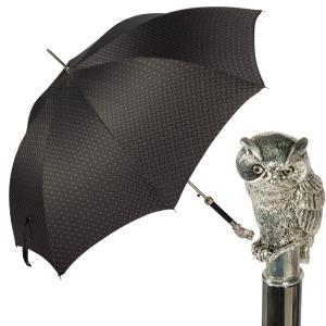 Зонт-трость Pasotti Owl Silver Bizantino Black фото-1
