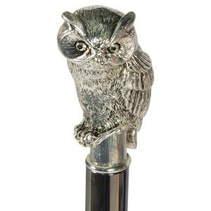 Зонт-трость Pasotti Owl Silver Bizantino Black фото-4