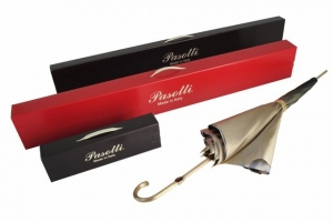 Зонт-трость Pasotti Leone Gold Oxford Rosso Fodero Anello фото-5