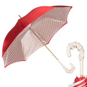 Зонт-трость Pasotti Rosso Pois Ivory Pelle фото-1