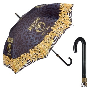 Зонт-трость Moschino 8009-63autoa Logo animalier Black фото-1