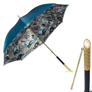 Зонт-трость Pasotti Becolore Blu Petalo Perle фото-1