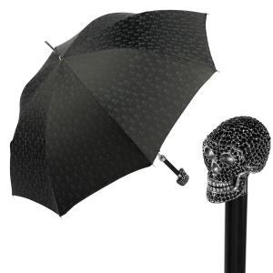Зонт-трость Pasotti Capo Sculls Swarovski Nero фото-1
