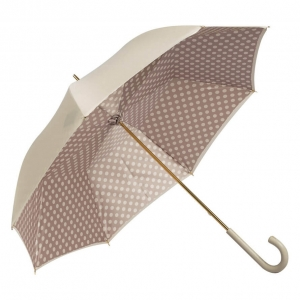 Зонт-трость Pasotti Ivory Pois Classic Pelle фото-2