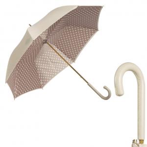 Зонт-трость Pasotti Ivory Pois Classic Pelle фото-1