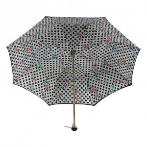 Зонт-трость Pasotti Nero Flower Pois Stone фото-3