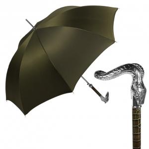 Зонт-трость Pasotti Serpente Pelle Oxford Oliva фото-1