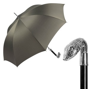 Зонт-трость Pasotti Snake Silver Stripes Grey фото-1