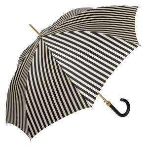 Зонт-трость Pasotti Uno Stripes Nero Beige Legno фото-2