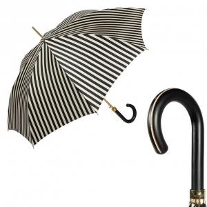 Зонт-трость Pasotti Uno Stripes Nero Beige Legno фото-1