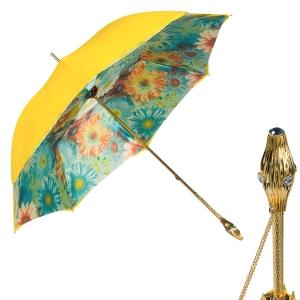 Зонт-трость Pasotti Yellow Gerbera Buton Oro фото-1