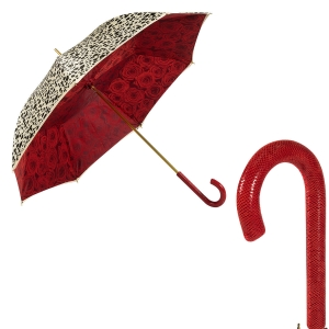 Зонт-трость Pasottti Pantera Rosa Pelle Rosso фото-1