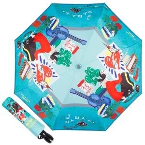Зонт складной Moschino 7016-OCP Olivia painter Light blue фото-1