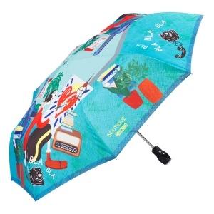 Зонт складной Moschino 7016-OCP Olivia painter Light blue фото-2
