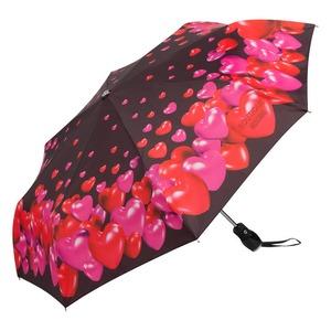 Зонт складной Moschino 7275-OCA Rubber Heart Black фото-2