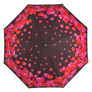 Зонт складной Moschino 7275-OCA Rubber Heart Black фото-3