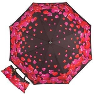 Зонт складной Moschino 7275-OCA Rubber Heart Black фото-1
